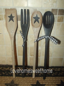 Primitive Crackle Tan Black Star Wood Spoon Utensils Set Of 4 Country Decor