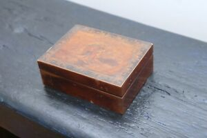 Antique Inlay Inlaid Trinket Box Couple Dancing Border Of Ducks Geese