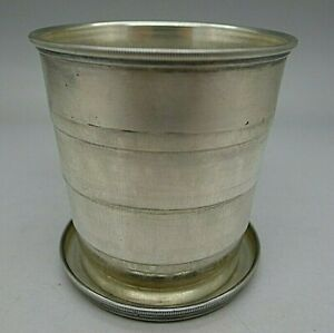 Gorham Rare Sterling Silver Collapsable Cup W Leather Storage Case Must See Wow