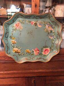 Vintage Large Hand Painted Floral Robbins Egg Blue Metal Tray Toleware Roses
