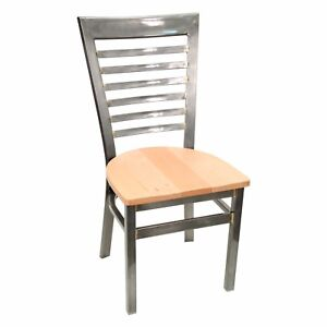 New Gladiator Clear Coat Full Ladder Back Metal Restaurant Chair Natural Seat