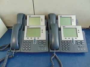 Lot Of 4 Cisco Systems 7940 Ip Phones With Handsets Free Shipping Rh34x
