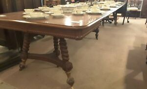 Antique Merklen Brothers Cherry 48 Square Dinning Table With Seven Leaves