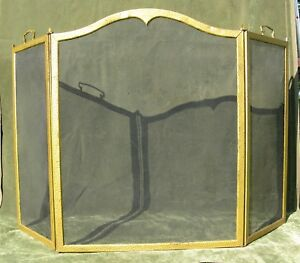 Vintage Antique Arched Hammered Brass Steel 3 Fold Fire Place Screen 52 W