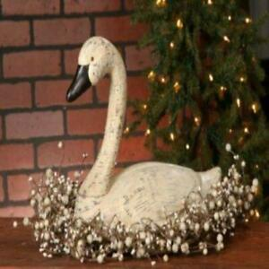 Rustic Country Primitive Farmhouse Resin Swan Centerpiece Shelf Mantle Decor