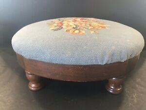 Antique Vintage Foot Rest Foot Stool Original Needlepoint