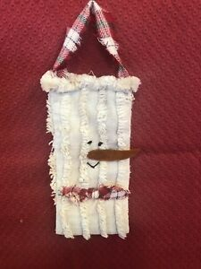 Primitive Christmas Snowman Ornie From Vintage Chenille Handmade Ooak Christmas
