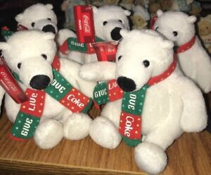 Vintage COCA-COLA Plush Polar Bear Christmas Green Red Scarf Lot Of 5