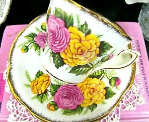 Rosina Tea Cup And Saucer Pink Yellow Rose Pattern Teacup Scalloped Edges