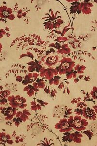 Chintz Fabric Madder Brown Antique French Textile Circa 1850 33x58 Inches