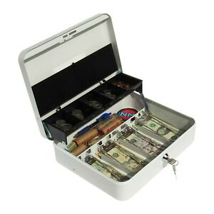 Cash Box With Money Tray Petty Cash Lock Box Includes Tiered Design W New