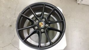 Porsche 991 New Carrera Siii Oem Stain Black 20 Wheels And Center Cap Set Only