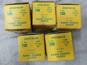 Lot Of 5 Greenlee 730 Round Radio Chassis Punch New