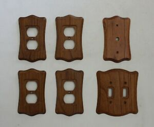 Vintage Lot Oak Wood Light Switch A C Outlet Cover Wall Plate Mid Century Modern
