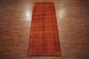 Red 5x13 Antique Bukhara Turkoman Gallery Runner Persian Hand Knotted Rug Abrash