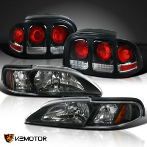 Black Fit 1994 1998 Mustang Headlights Corner Lamps 1pc Style Brake Tail Lights