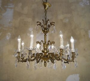 Brass Crystal Chandelier Old Fixture Ceiling Lamp Rare Ornaments 8 Light