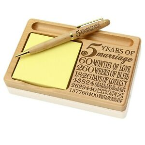 Kate Posh Our 5th Anniversary Wooden Notepad Pen Holder New