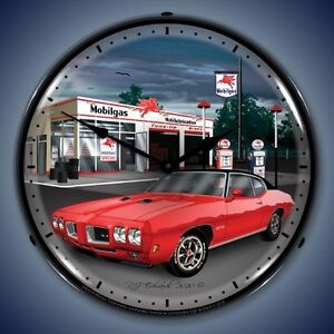 New Old 1970 Pontiac Gto Muscle Car Mobilgas Station Light Up Clock Made