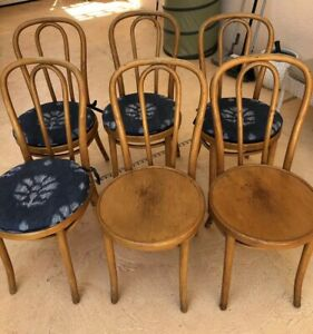 Six Thonet Original Bentwood Cafe Parlor Chairs From Marcel Breuer Office Ny