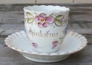 Antique Early Mustache Cup With Saucer From Germany Think Of Me White