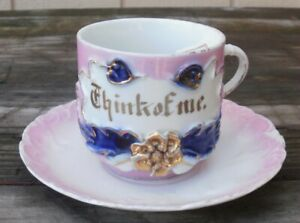 Antique Early Mustache Cup With Saucer From Germany Think Of Me Pink
