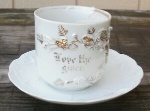 Antique Early Mustache Cup With Saucer From Germany White W Gold Trim