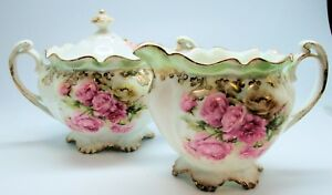 Beautiful Porcelain Cream Pitcher Covered Sugar Bowl Pink Roses Germany