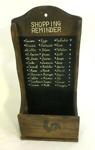 Vintage Rustic Wooden Recipe Holder Shopping Reminder Colony Japan