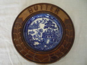 A Vintage Carved Wood Butter Dish Blue Willow Liner English Kitchenalia Display