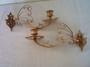 2 Decorative Brass Candle Candlestick Holders Wall Sconce Piano Reclaim Pair