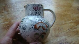 Antique Transfer Ware Pitcher Floral Design Porcelain Syrup Pitcher No Lid