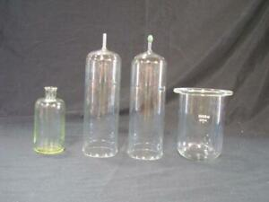 Lot Of 4 Vintage Laboratory Glass Chemistry Pieces 1 Marked Kimax