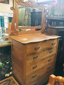 Antique Solid Tiger Oak Highboy Dresser Carved Mirror Chest Gentlemans Tall Ship