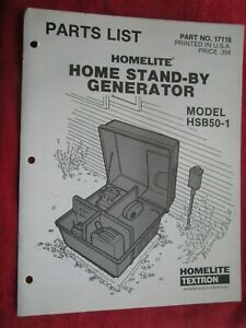 Vintage Homelite Hsb50 1 Home Stand by Generator Parts List Manual 17116