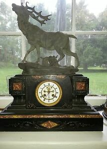 Large French Marble Clock With Elk Top