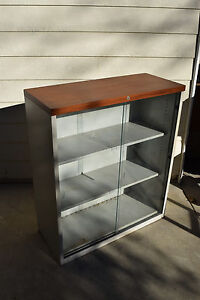 Trophy Glass display cabinet wall office show Lab Case Bookcase Industrial