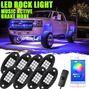 8pc Rgbw Led Multi color Offroad Rock Lights Wireless Remotes Truck For Jeep