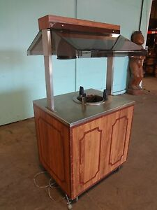 duke 10 Plate Dispenser Kiosk stand W Heat Lamp And Sneeze Guard On Casters