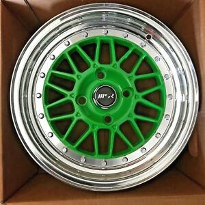 15x8 Msr Wheels Polished Green 2 Piece Rims Set 4x4 5