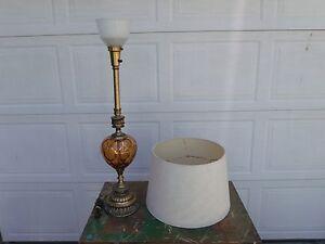Hollywood Regency Mid Century Brass Lamp Amber Glass Globe Torchiere Diffuser