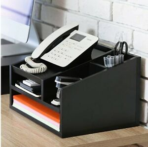 Desk Organizer Wood Office Suppies 5 Compartments Letter Tray Phone Stand Black