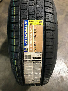 2 New 225 70 16 Michelin X Radial Lt2 Tires