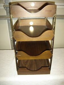 Vintage 4 Unit Stacking In out Letter File Walnut Dove tailed 9507