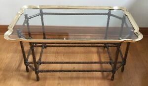 Labarge Italian Brass Glass Scalloped Top Coffee Table Labarge
