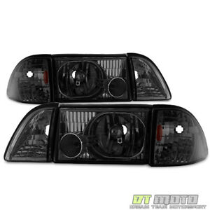 Smoke 1987 1993 Ford Mustang Headlights Headlamps W Corner Parking Left Right