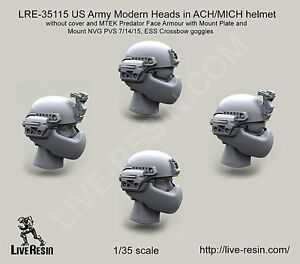 Live Resin 35115 135 Modern US Army Heads in ACHMICH Helmet without Cover