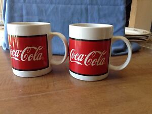 Set of Two 1997 Gibson Red White Coca Cola Mugs