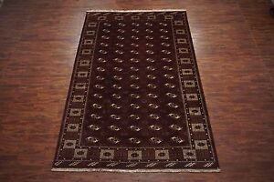 Antique 9x13 Turkoman Tribal Bukhara Hand Knotted Wool Area Rug 8 6 X 12 9