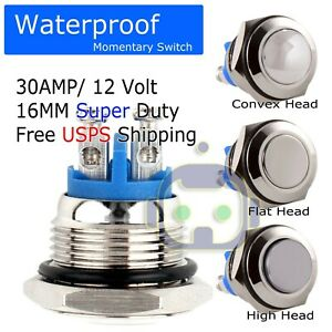 30a Metal Head Horn Push Momentary Waterproof Switch 12v16mm 5 8 Starter Button